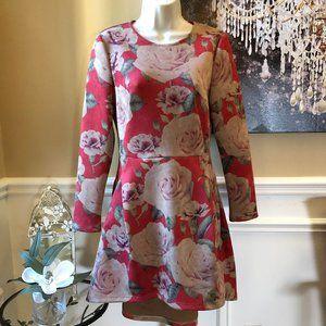 Metisu Boutique Rose Print Fit & Flare Dress